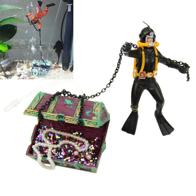Fish Tank Ornament Hunter Diver Treasure Figure