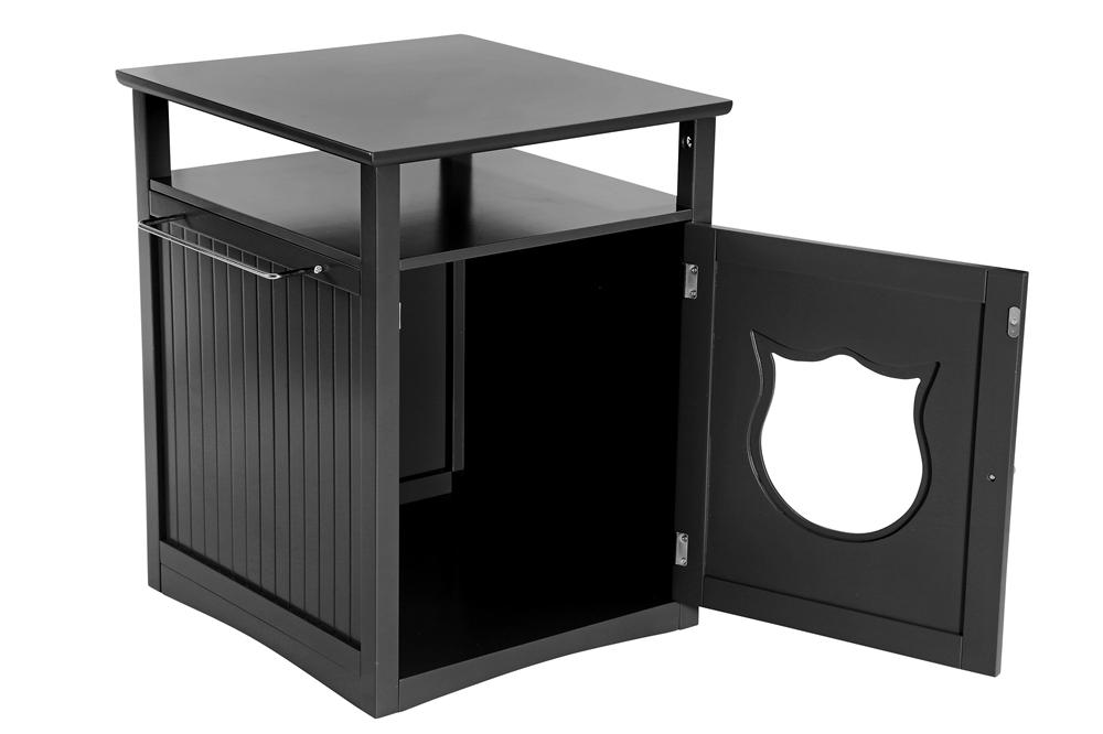 Nightstand Cat House, Black