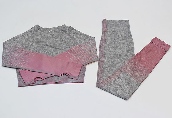 grey pink 2 piece set gymwear