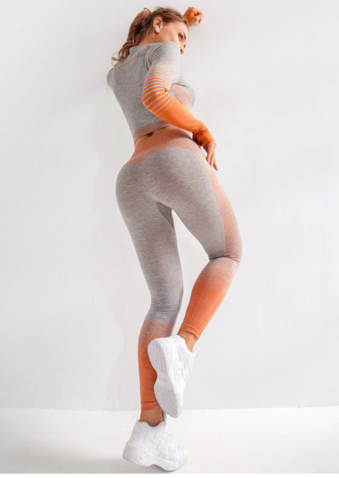 grey orange 2 piece set gymwear