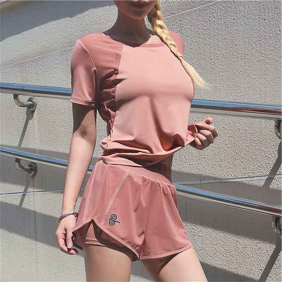 peach t-shirt and shorts set
