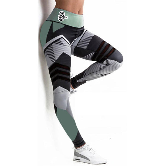 Black White and Teal Leggings