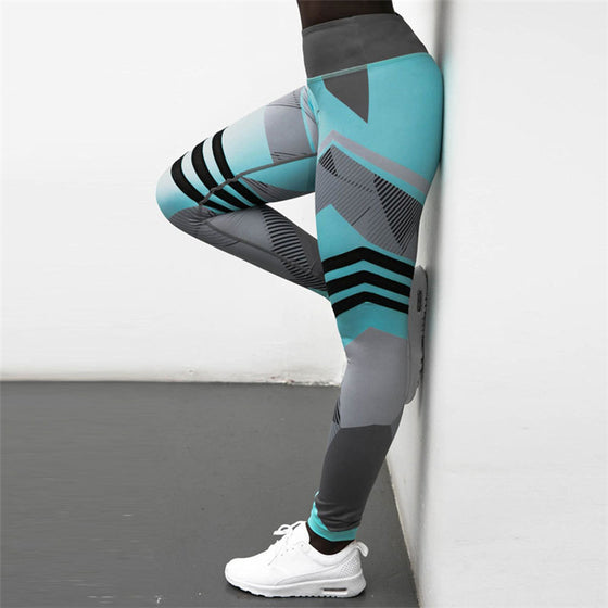 Black White and Aqua Leggings