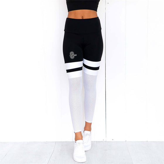 black white mesh leggings