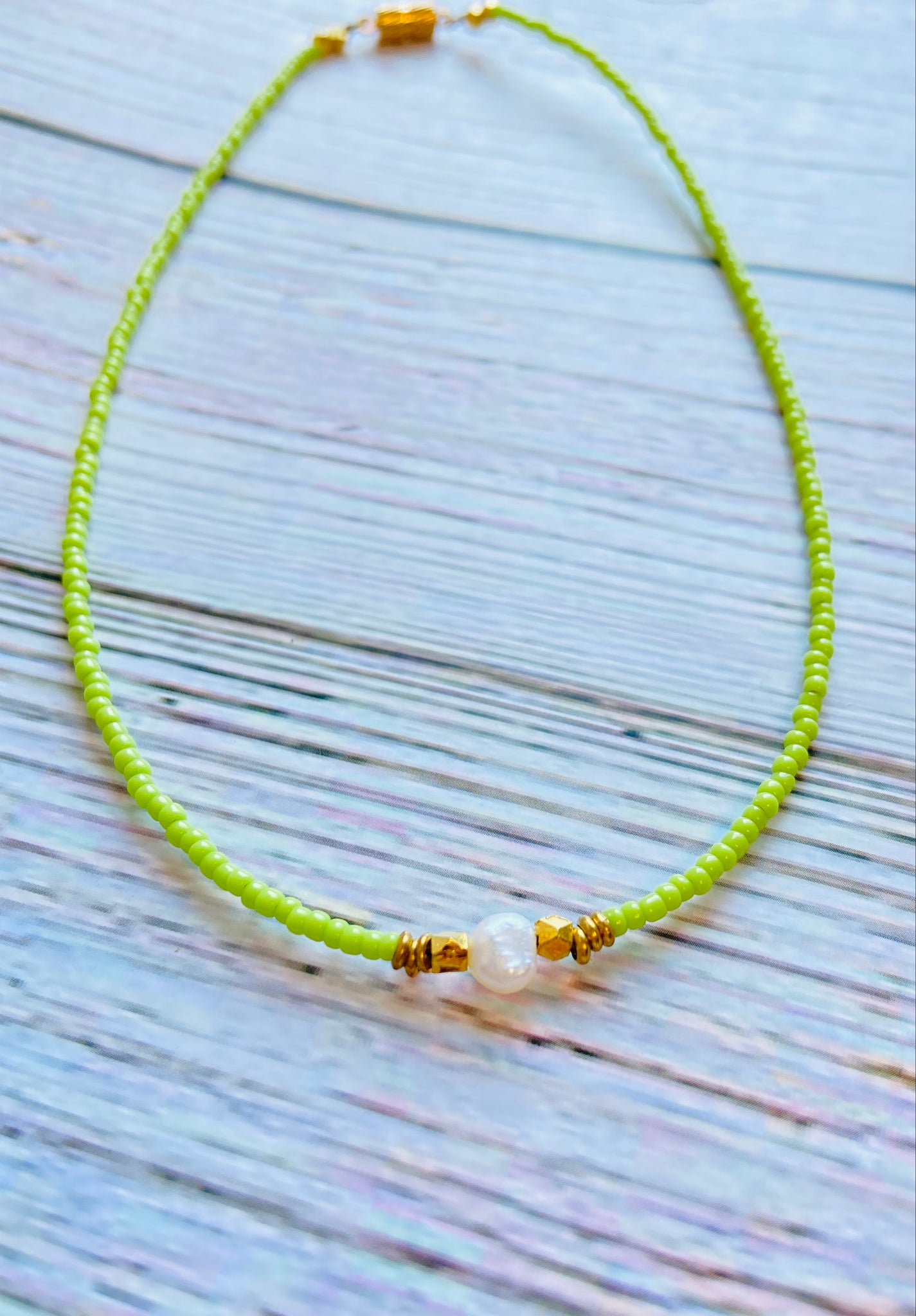 "Lime Green 14"" Necklace with Pearl BCC01"