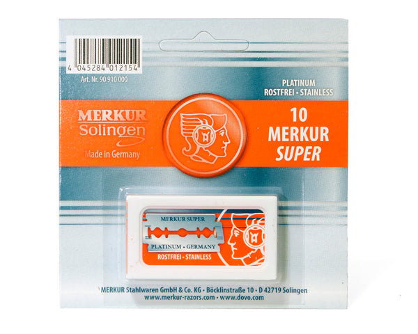 Merkur Platinum Stainless Steel Double Edge Blades, 10 Blades