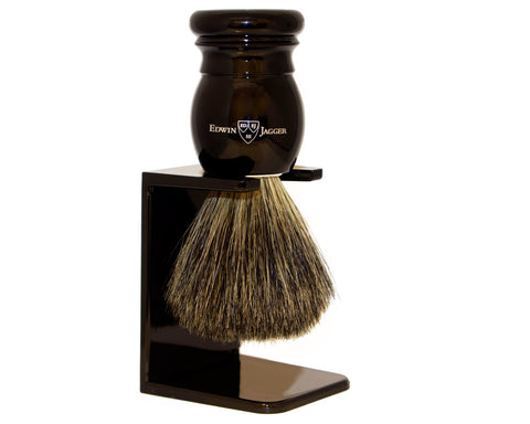 Edwin Jagger 181P26SDS Black Badger Hair Shave Brush, Ebony