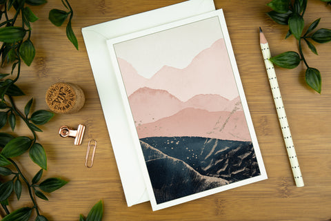 Petrol blue and blush abstract landscape luxury greeting card.