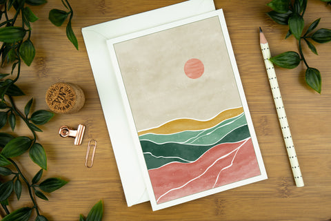 Desert sun blush pink and green luxury greeting card, printed on G. F. Smith card stock.
