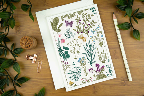 Wild meadow and butterfly luxury greeting card printed on G. F. Smith card stock.