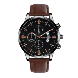 Men`s leather Watch - Wave Side