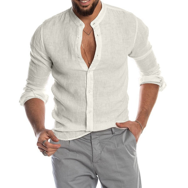 Men's Casual Blouse Cotton Linen Shirt - Wave Side