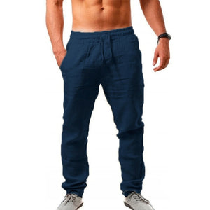 Mens Cotton linen pants - Wave Side
