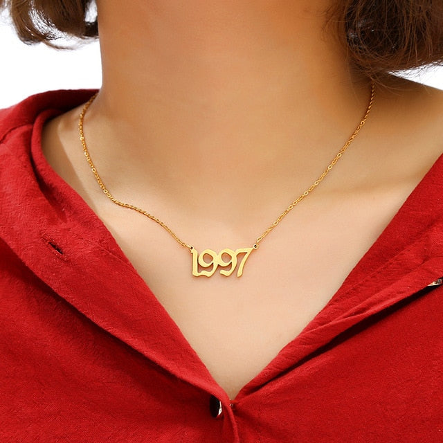 Birth Year Necklace/Bracelets - Wave Side