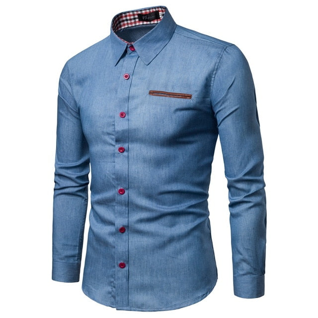 Men`s Denim Formal shirt - Wave Side