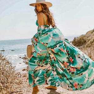 Women`s long floral dress - Wave Side