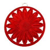 Old Dutch Red Round Floral Trivet