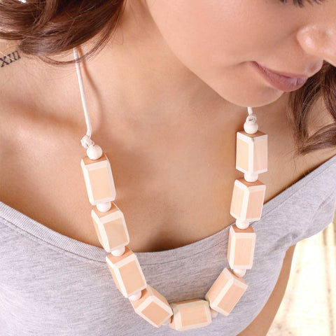 'Sand' Peach Coloured Wooden Fashion Necklace - Lucy and Alice Jewellery