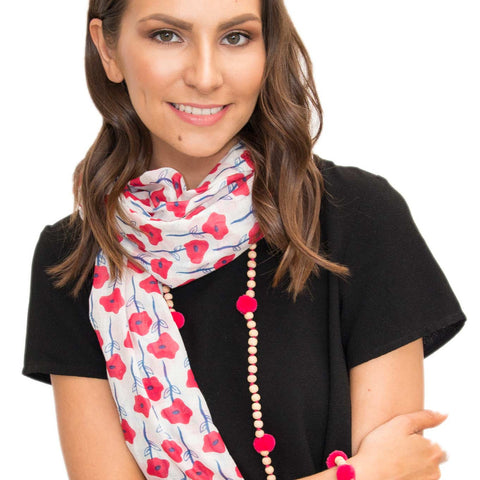 Poppy red 100% Cotton scarf - Larder Homewares and Jewellery