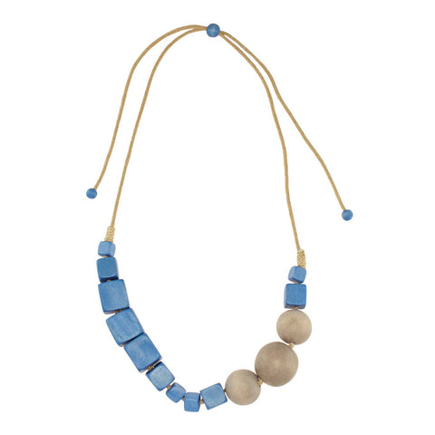 'Grand Bazaar' Light Wooden Denim Blue Necklace - Lucy and Alice Jewellery
