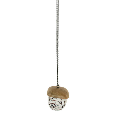 'Petra' - Lightweight Wooden and Marble Acorn Necklace - Lucy and Alice Jewellery