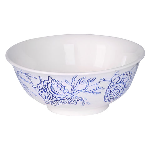 Coastal Othello Round Salad Bowl Shell and Seaweed Navy Design - LARDER Homewares Crockery