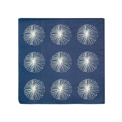 Paper Napkin Serviettes Bone and Navy Blue - LARDER homewares