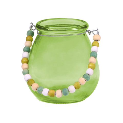 Kingston Green Glass Vase with Bead Handle - LARDER Homewares