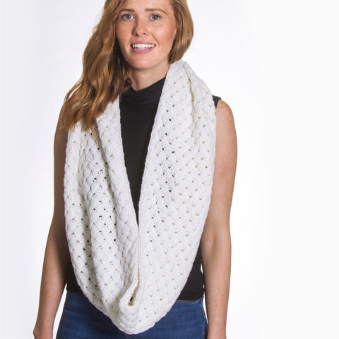 White Snood Cable Knitted Scarf - Lucy & Alice Jewellery