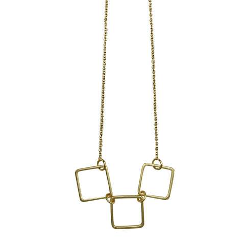 3 Square Necklace - Gold Larder Homeware and Jewellery