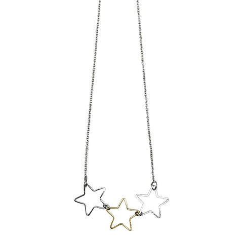 3 star necklace Silver & gold - Silver Larder Homeware and Jewellery