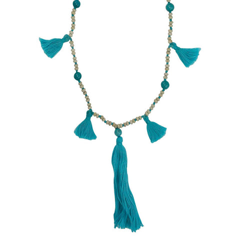 Blue Tassel Necklace - Larder Homewares and Jewellery