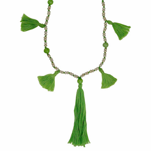 Green Tassel Necklace - Larder Homewares and Jewellery