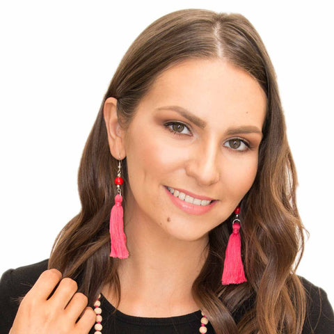 Red Tassel Earring - Larder Homewares and Jewellery