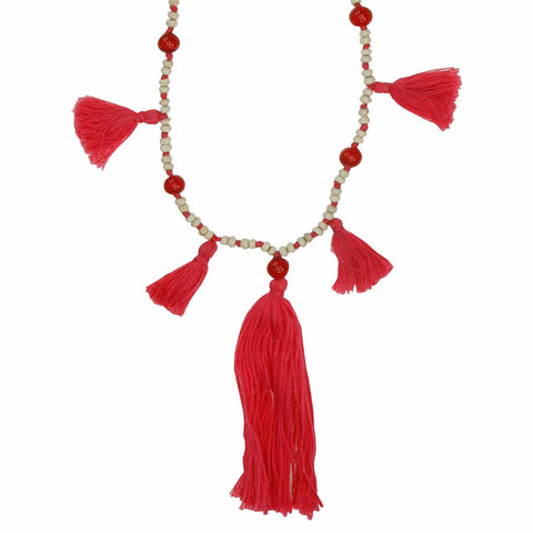 Red Tassel Necklace - Larder Homewares and Jewellery