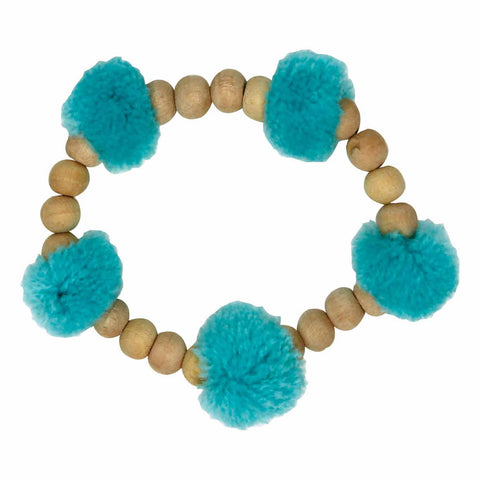 Pop Pom-pom blue bracelet - Larder Homewares and Jewellery