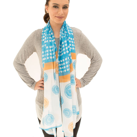 'Ascot' Light Blue and Peach Lightweight Summer Scarf - Lucy & Alice Jewellery
