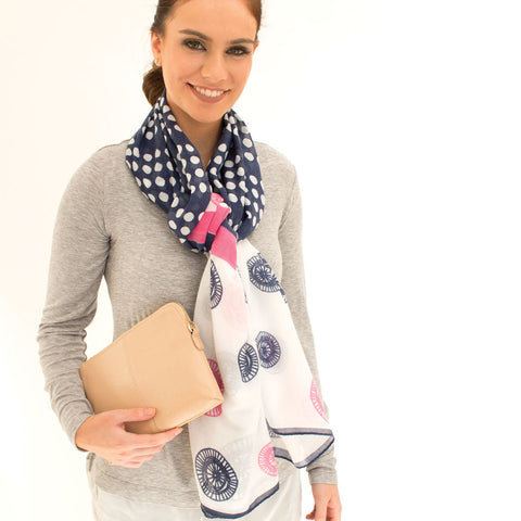 'Ascot' Navy And Pink Lightweight Summer Scarf - Lucy & Alice Jewellery