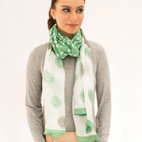'Ascot' Green and Grey Lightweight Summer Scarf - Lucy & Alice Jewellery