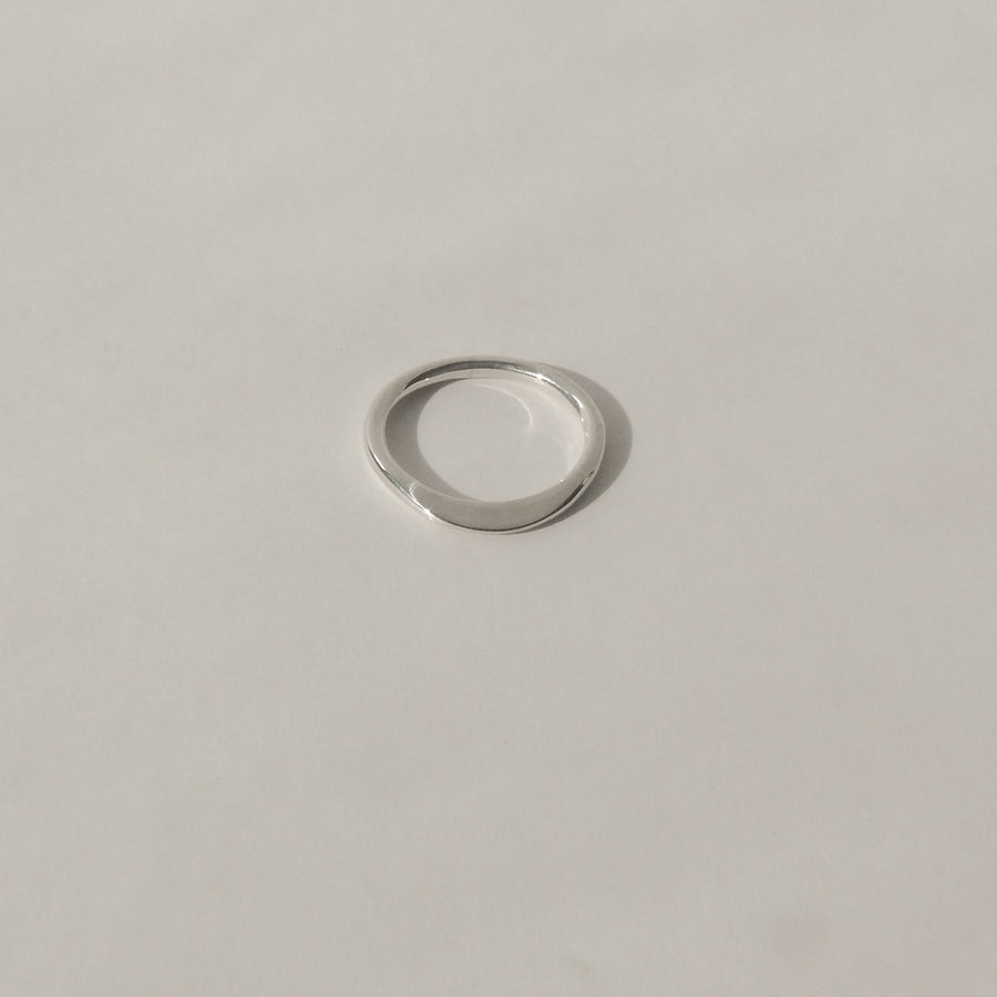 silver petite ridge ring on white background