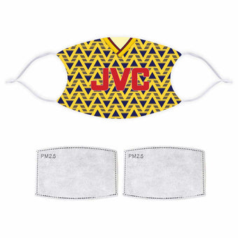 Football Printed Face Mask - Arsenal Bruised Banana 1991/1993 Away Retro Kit Design
