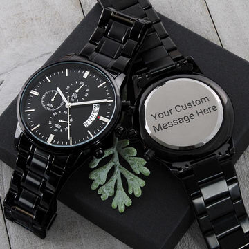 Engraved Watch for Men, Personalised Watch for Dad, Son, Husband, Boyfriend, Groom, Grand Father, Father of the Bride)