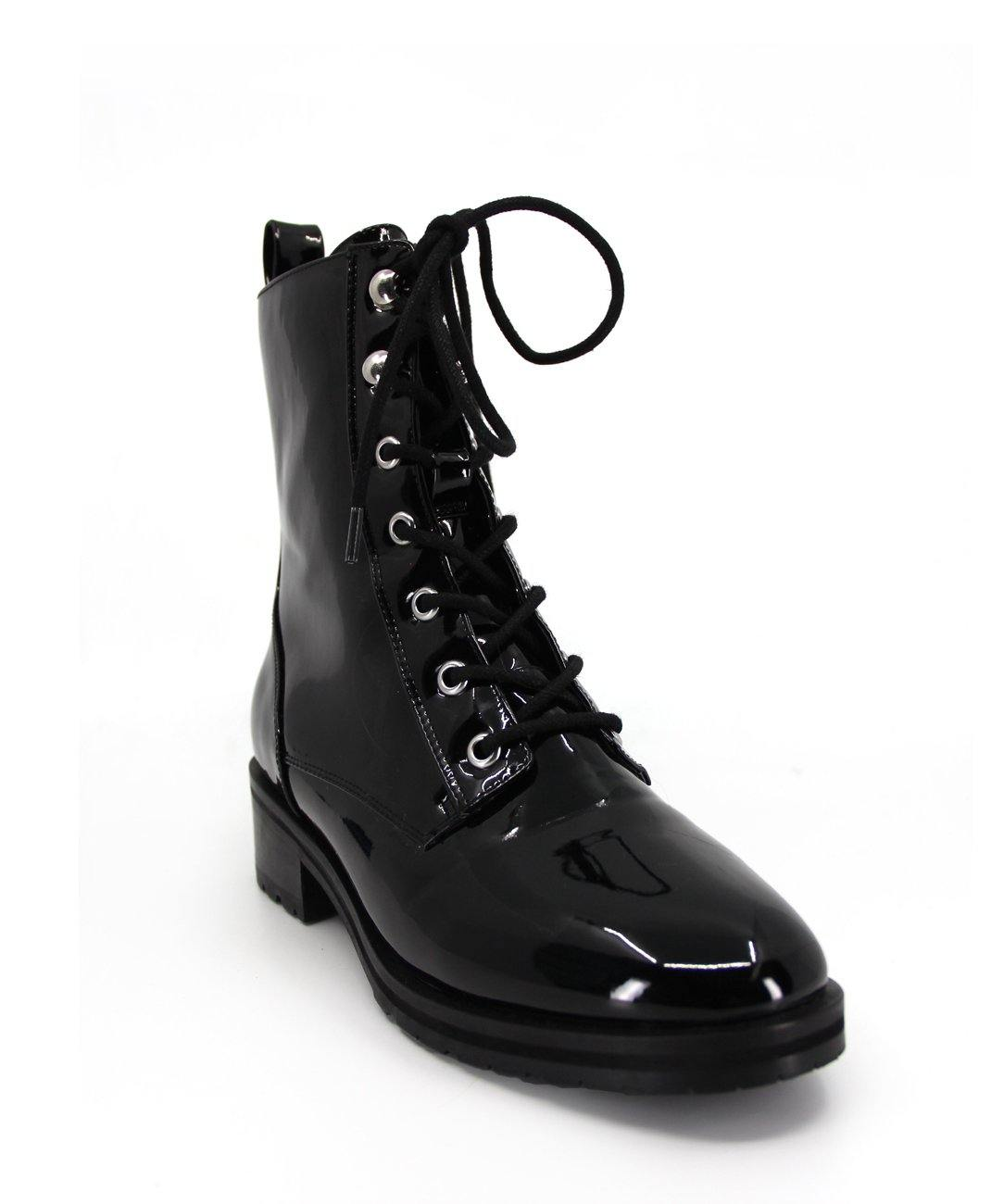 Womens on trend Military style boot in black patent