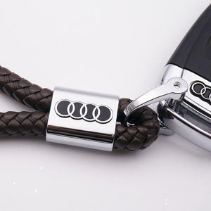 Hand-knitted Audi Leather Key Chain