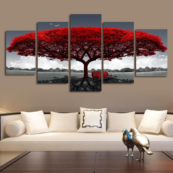 5 Pieces Picture Tree Canvas Art Print Oil Painting Wall Pictures for Living Room Paintings Home Wall Decor
