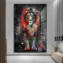 Cargar imagen en el visor de la galería, Plus Size Abstract Colorful Lion Painting Modern Animal Wall Art (No Frame)