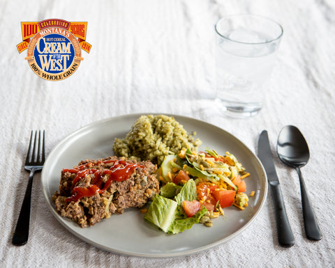 This juicy, whole-grain enhanced meatloaf contains our Roasted 7-Grain. It is a real crowd-pleaser and can be sliced for meatloaf sandwiches to pack in lunches or enjoy as a late night snack!