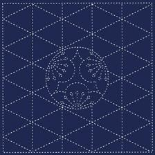 Daruma - Yume Fukin Pre-printed Sashiko Fabric in Plum design on Indigo Fabric