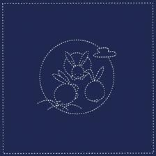 Daruma - Pre-printed Sashiko Sampler with Bunnies and Moon on Indigo Fabric