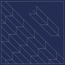 Daruma - Pre-printed Sashiko Sampler in Arrow Feather design on Indigo Fabric